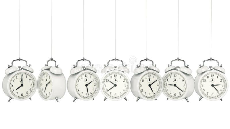 för bakgrundsklocka för alarm 3d tid för orange för begrepp för objekttid för bakgrund begrepp isolerad white stock illustrationer