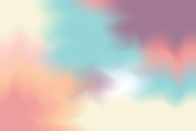 För bakgrundsmålning för blå gul rosa mjuk färg blandat abstrakt begrepp för pastell för konst, färgrik konsttapet vektor illustrationer