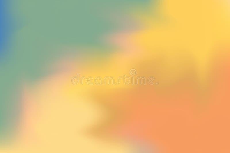För bakgrundsmålning för grön gul orange mjuk färg blandat abstrakt begrepp för pastell för konst, färgrik konsttapet vektor illustrationer