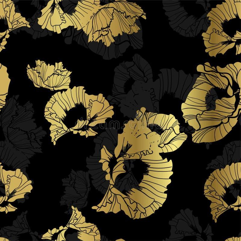 För bakgrundsmodell för sömlös vallmo guld- svart bakgrund stock illustrationer