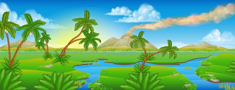 För bakgrundsplats för tecknad film förhistoriskt landskap stock illustrationer