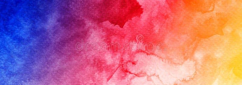 För bakgrundsrengöringsduk för abstrakt vattenfärg färgrikt blått purpurfärgat violett violaceous rött orange gult texturerat ban royaltyfri illustrationer
