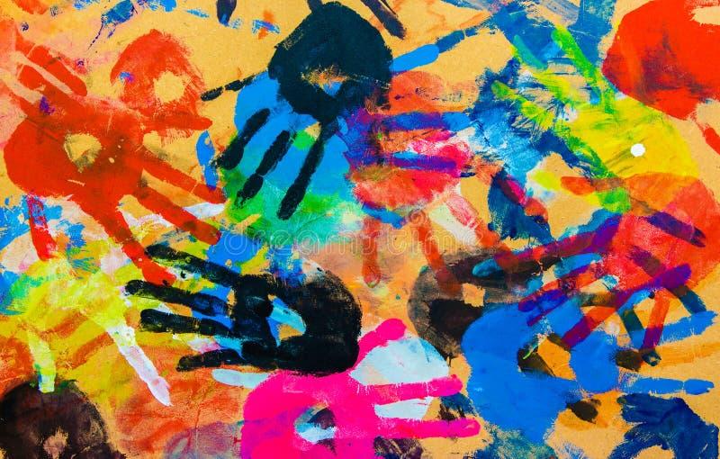 För bakgrundstextur för färgrika händer abstrakt tappning royaltyfria bilder