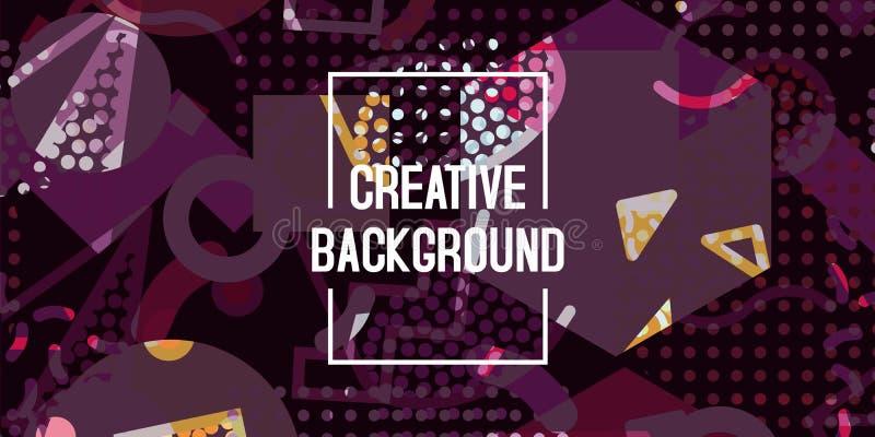 För bakgrundstextur för vektor abstrakt geometrisk design, ljus affisch, purpurfärgad bakgrund för baner, violett rosa och gult royaltyfri illustrationer