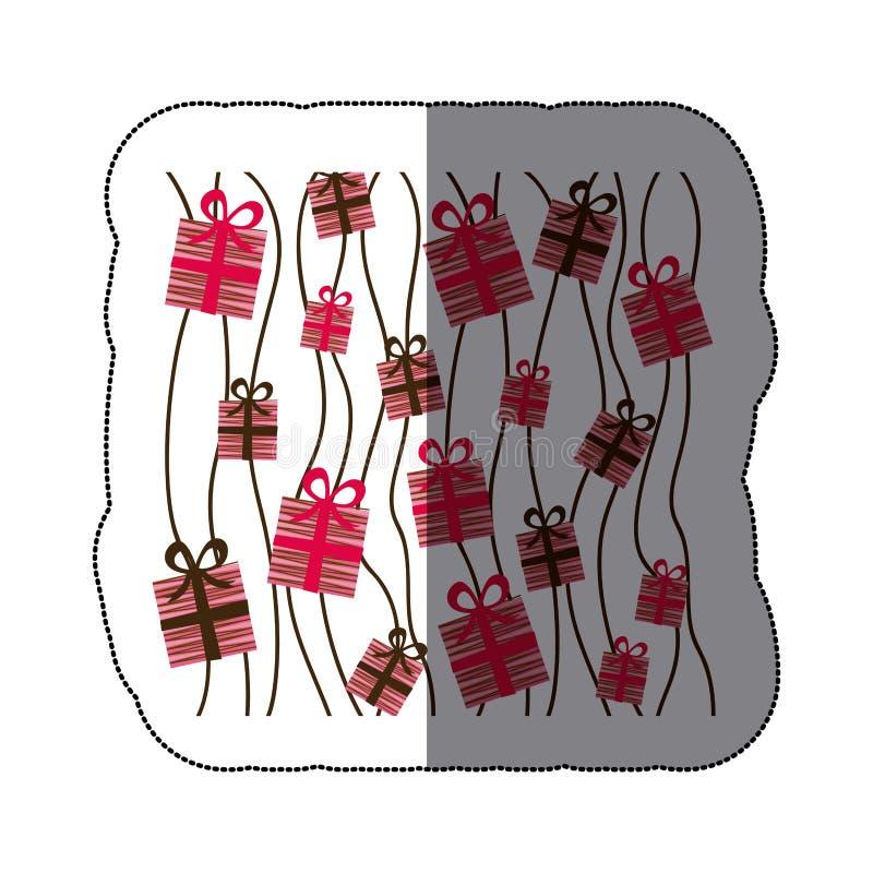 för bakgrundsuppsättning för klistermärke färgrik design för ask för gåva stock illustrationer