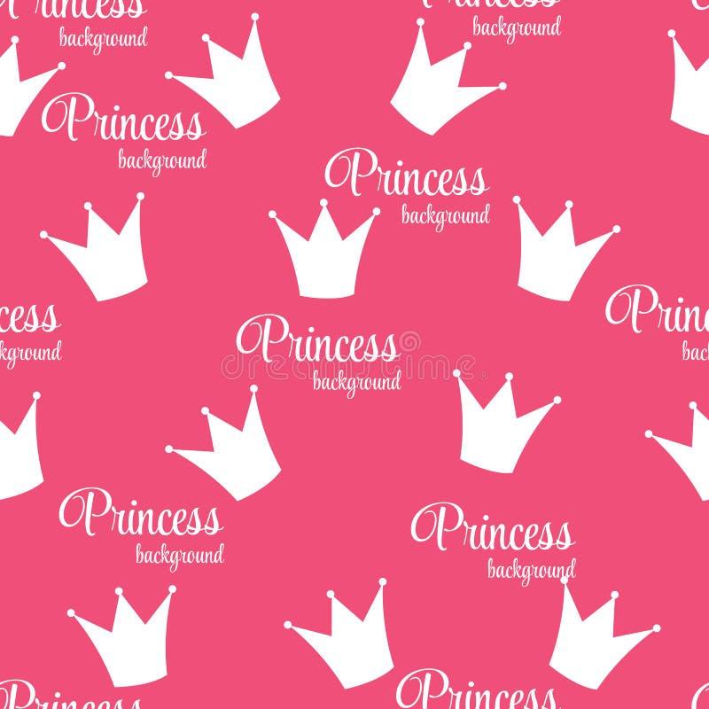 För bakgrundsvektor för prinsessa Crown Seamless Pattern illustration. stock illustrationer