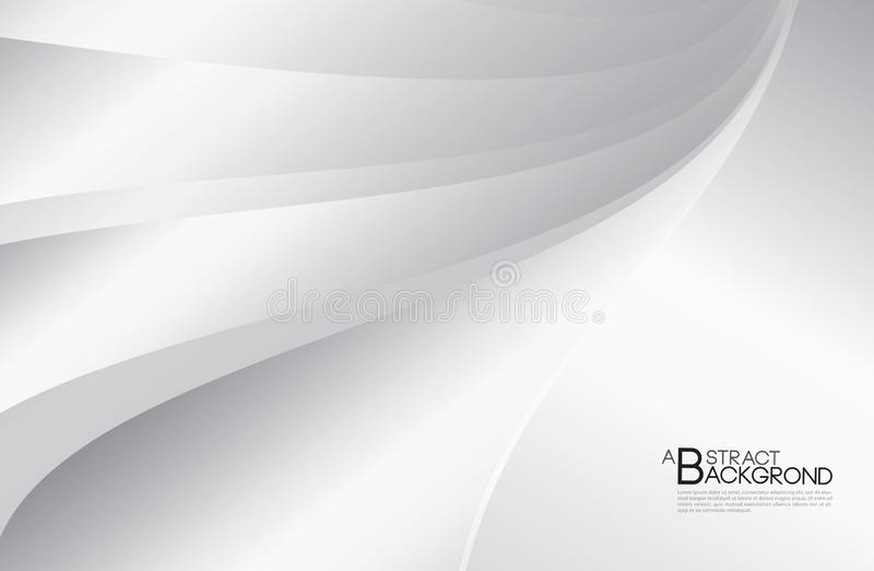 För bakgrundsvektor för grå färger abstrakt illustration, räkningsdesignmall, silverkurvvektor, affärsreklambladorientering, tape royaltyfri illustrationer