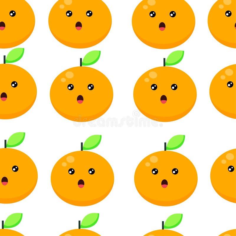 För bakgrundsvektor för sömlös modell gullig orange illustration royaltyfri illustrationer