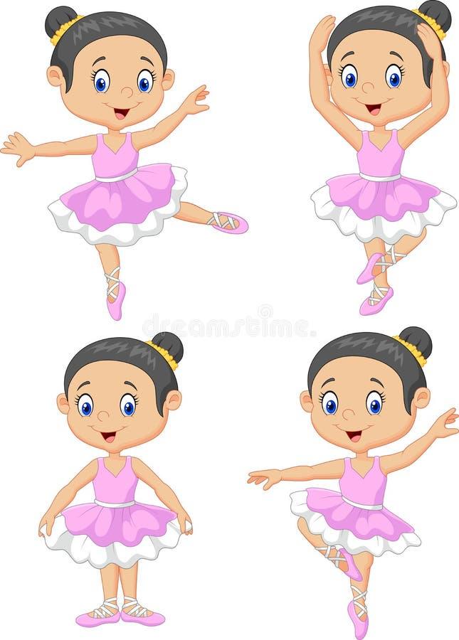 För balettdansörsamling för tecknad film liten uppsättning royaltyfri illustrationer