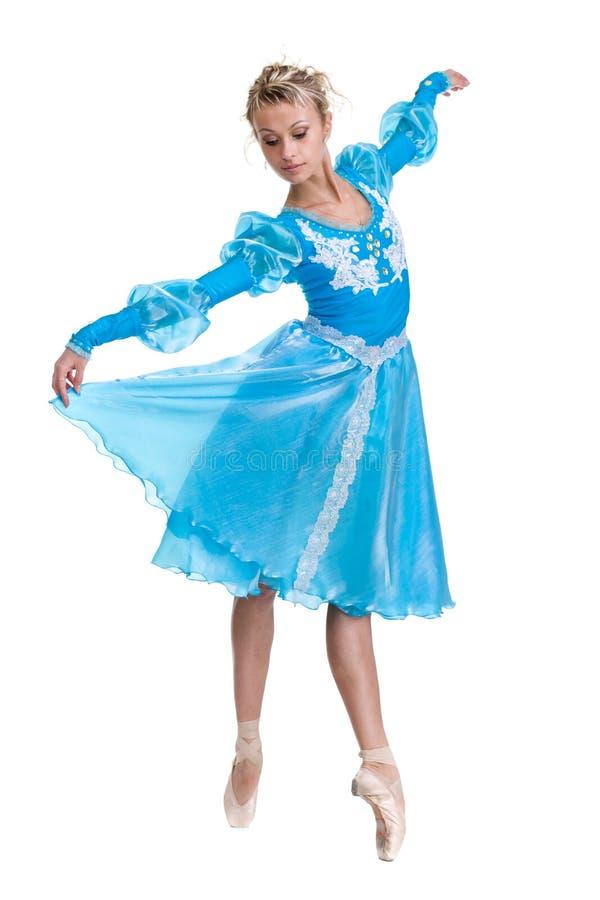 För ballerinabalettdansör för ung kvinna dans på vit bakgrund royaltyfri foto