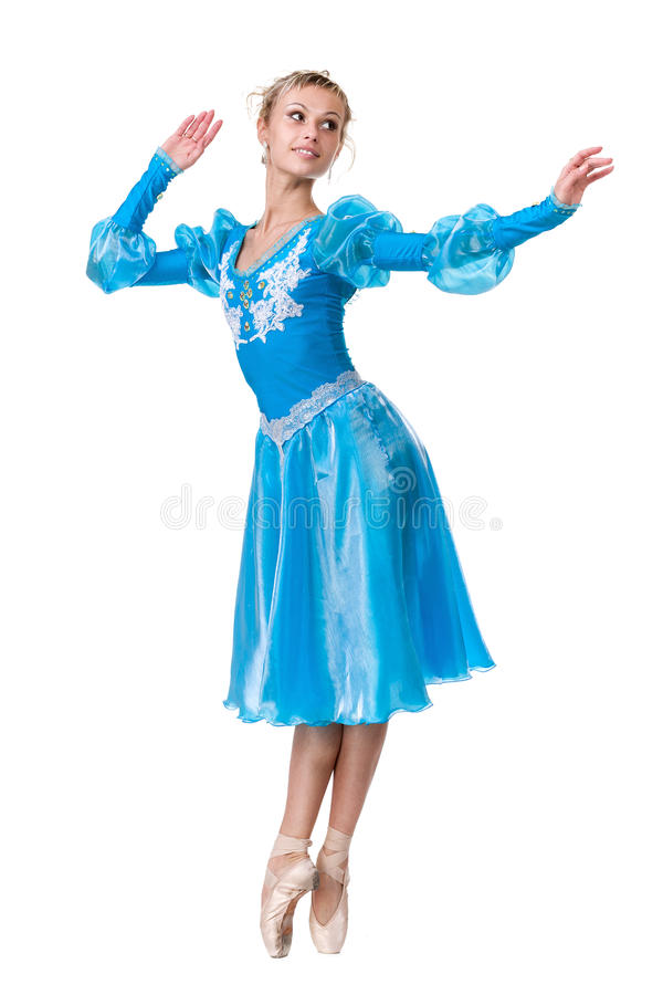 För ballerinabalettdansör för ung kvinna dans på vit bakgrund royaltyfri bild