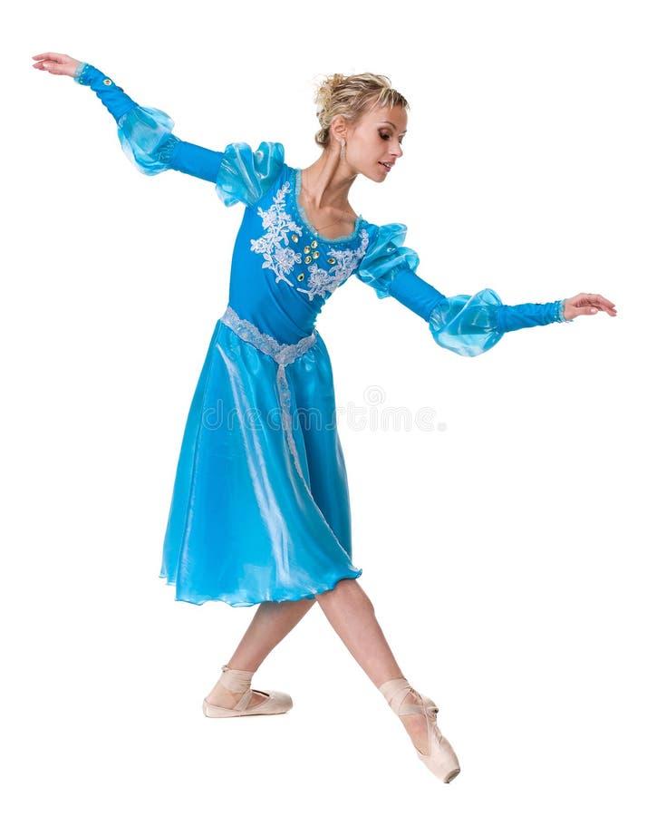 För ballerinabalettdansör för ung kvinna dans på vit bakgrund royaltyfria bilder