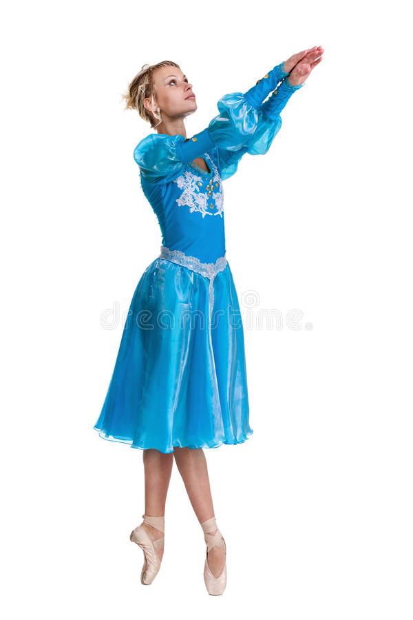 För ballerinabalettdansör för ung kvinna dans på vit bakgrund royaltyfri fotografi
