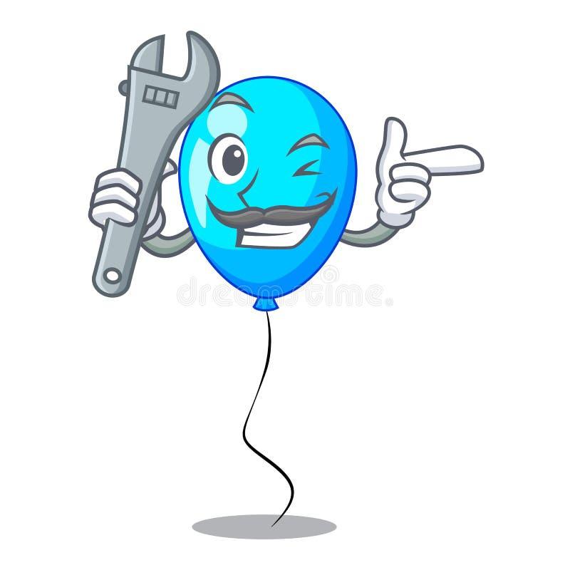 För ballonggrupp för mekaniker blå design på tecknad film royaltyfri illustrationer
