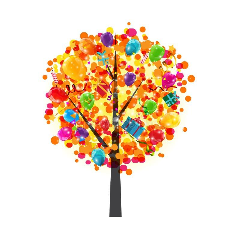 För ballongträd för färg glansig bakgrund Lyckligt födelsedagbegrepp V vektor illustrationer
