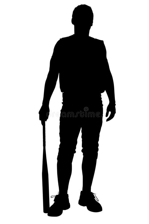 för banaspelare för clipping male softball för silhouette royaltyfri illustrationer
