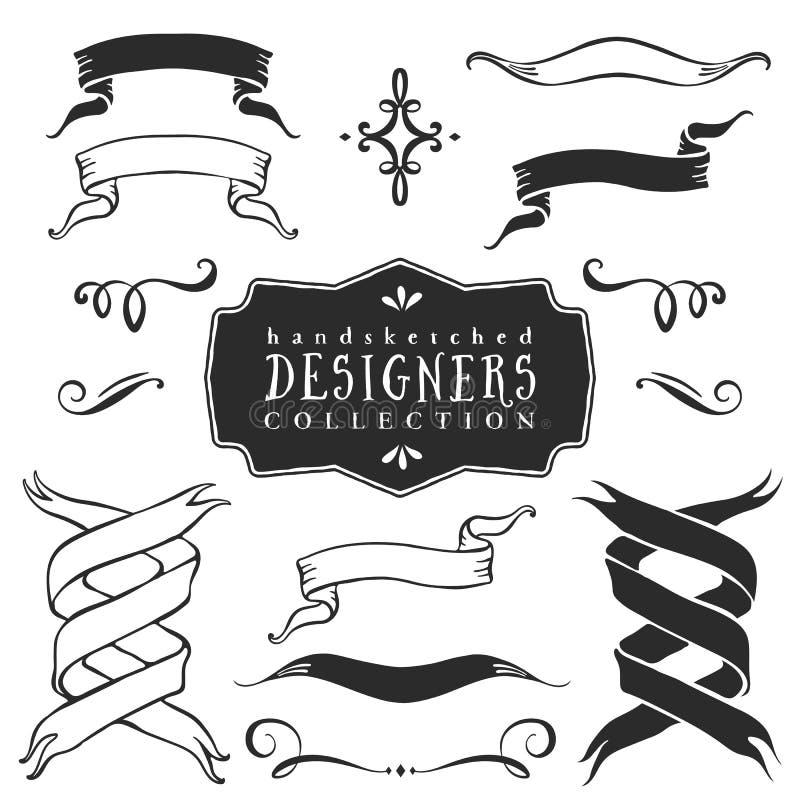 För bandbaner för tappning dekorativ samling tecknad handvektor vektor illustrationer