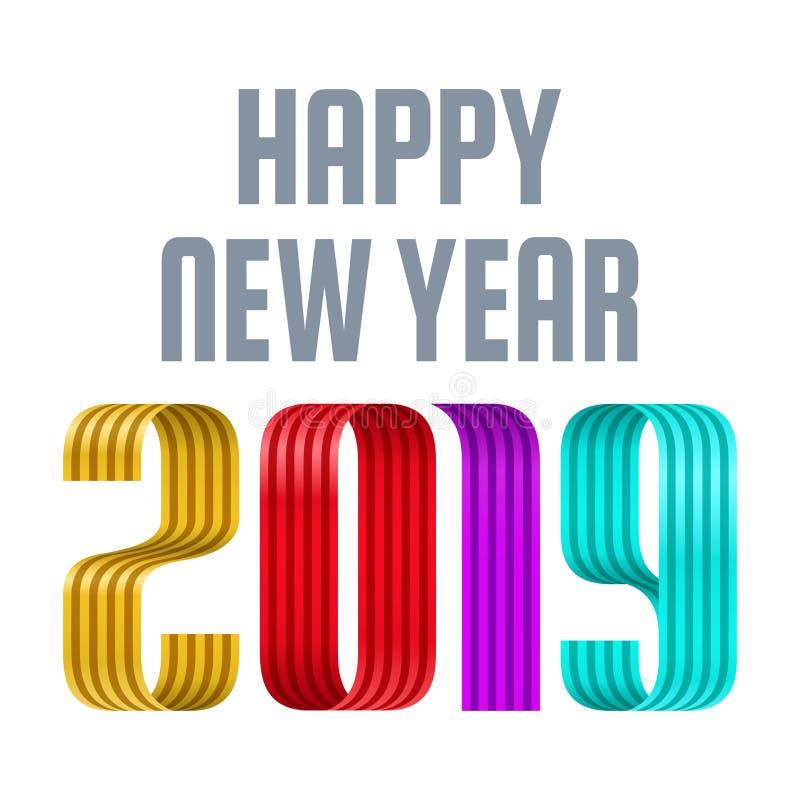 2019 för bandbokstäver för lyckligt nytt år illustration royaltyfri illustrationer