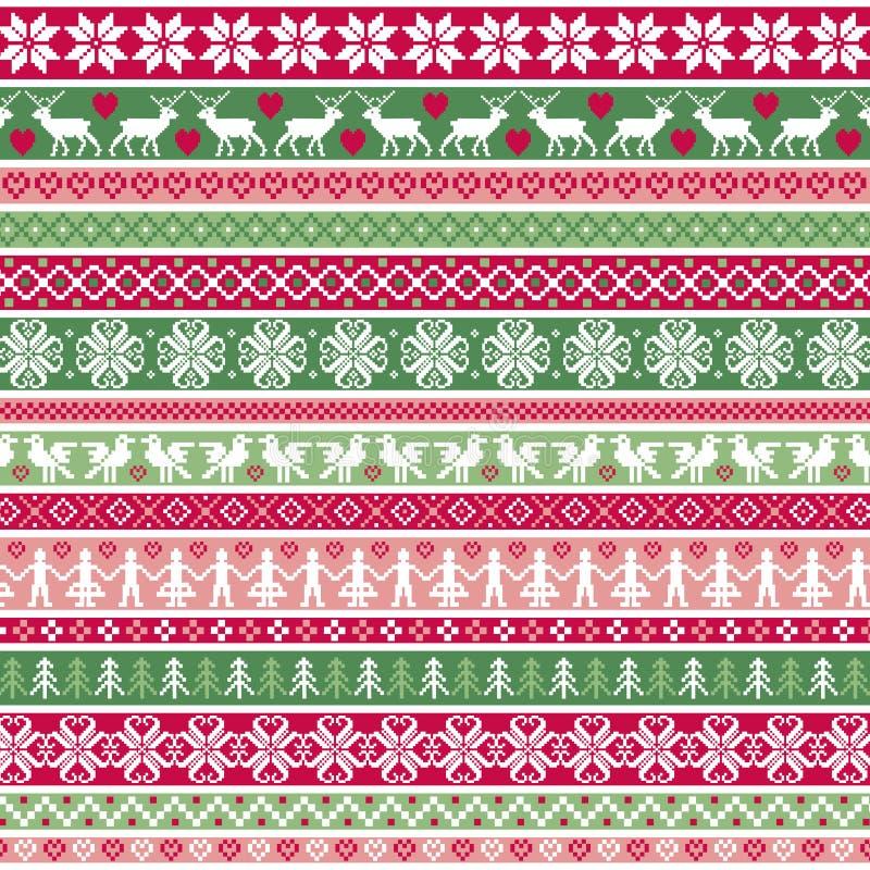 För bandgräns för jul nordiska modeller vektor illustrationer