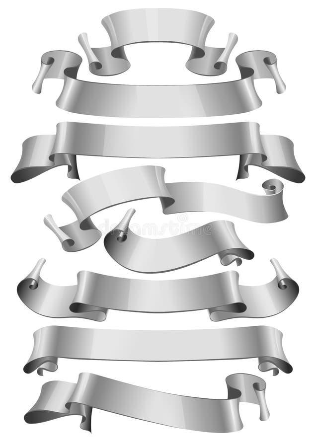 för bandsilver för bakgrund glansig white vektor illustrationer