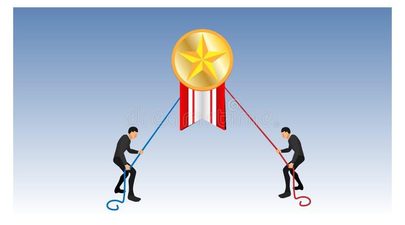 För bandstiftet för det guld- myntet utmärkelsen bekämpas två personer som drar sig som använder rep illustration av konkurrensen vektor illustrationer