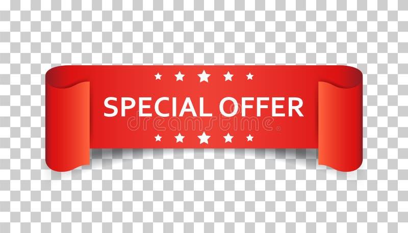 För bandvektor för specialt erbjudande symbol Rabatt nolla för försäljningsklistermärkeetikett vektor illustrationer