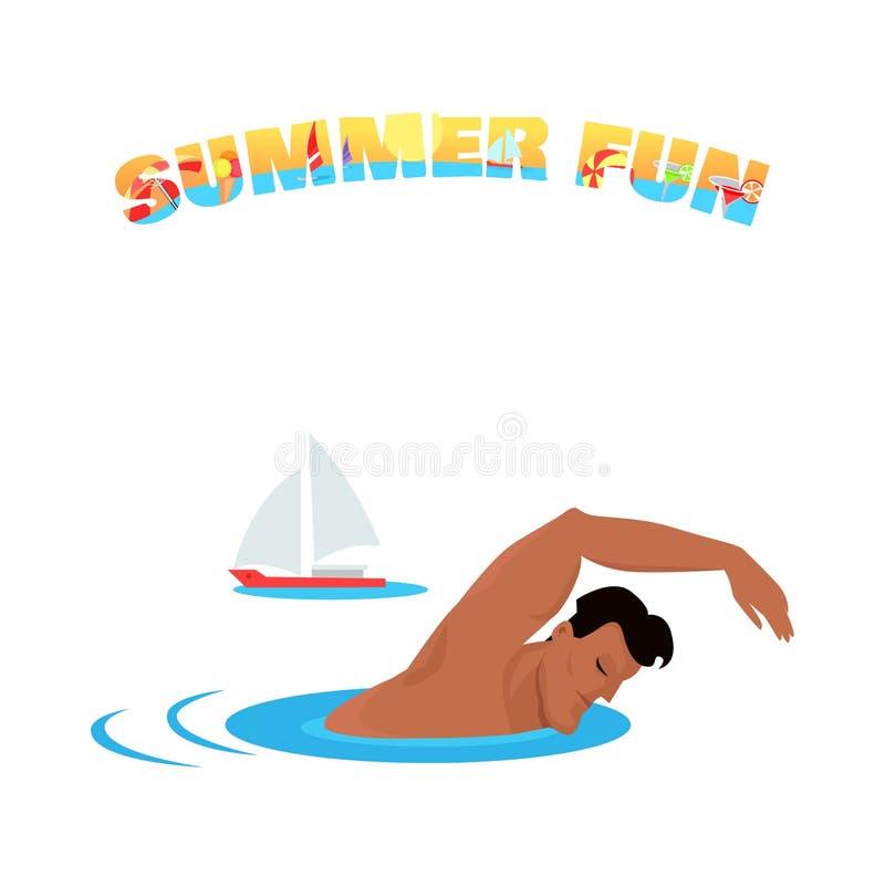 För baneraffisch för sommar rolig design för begrepp stock illustrationer