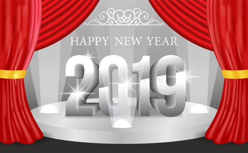 För banerbakgrund för det lyckliga nya året mallen med 3d försilvrar nummer också vektor för coreldrawillustration royaltyfri illustrationer