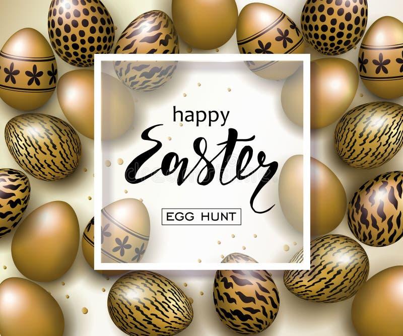 För banerbakgrund för lycklig påsk lyxig mall med härliga realistiska guld- ägg greeting lyckligt nytt år för 2007 kort också vek royaltyfri illustrationer