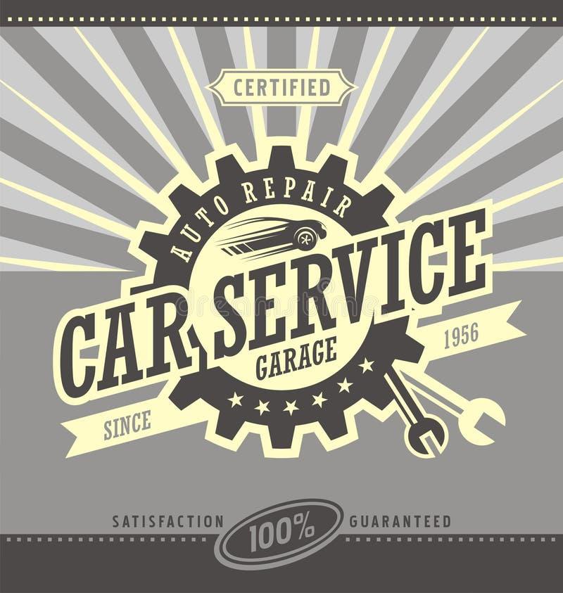 För banerdesign för bil tjänste- retro begrepp royaltyfri illustrationer