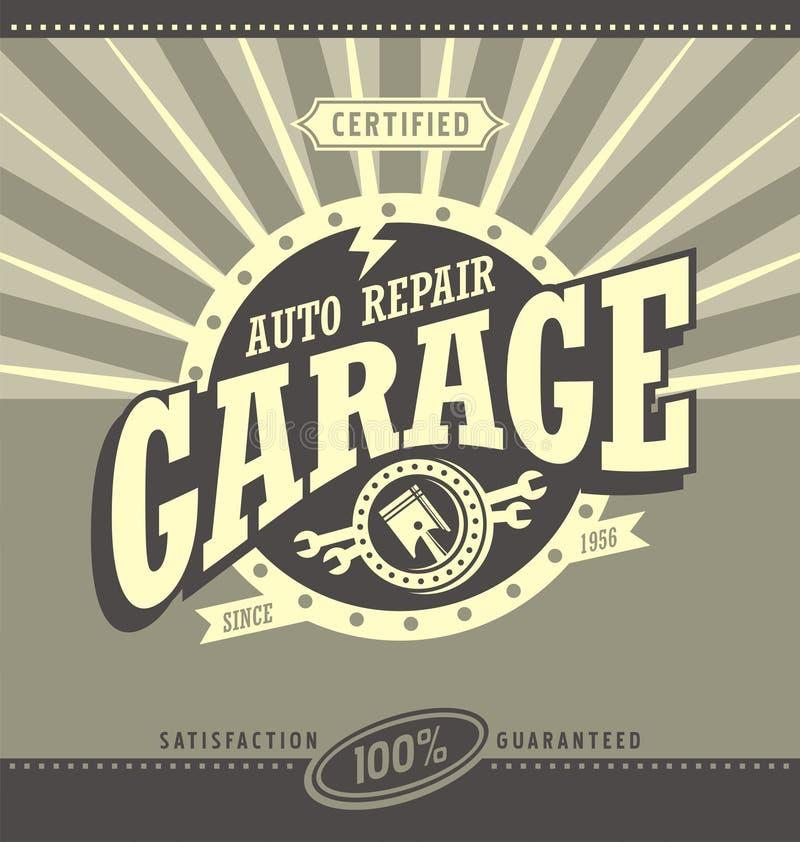 För banerdesign för klassiskt garage retro begrepp royaltyfri illustrationer