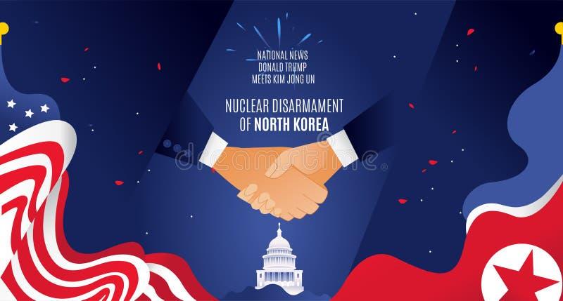 För banerhandskakning för vektor plan horisontalflagga överenskommelse för kärnvapennedrustning Korea, Förenta staterna för varm  arkivbilder