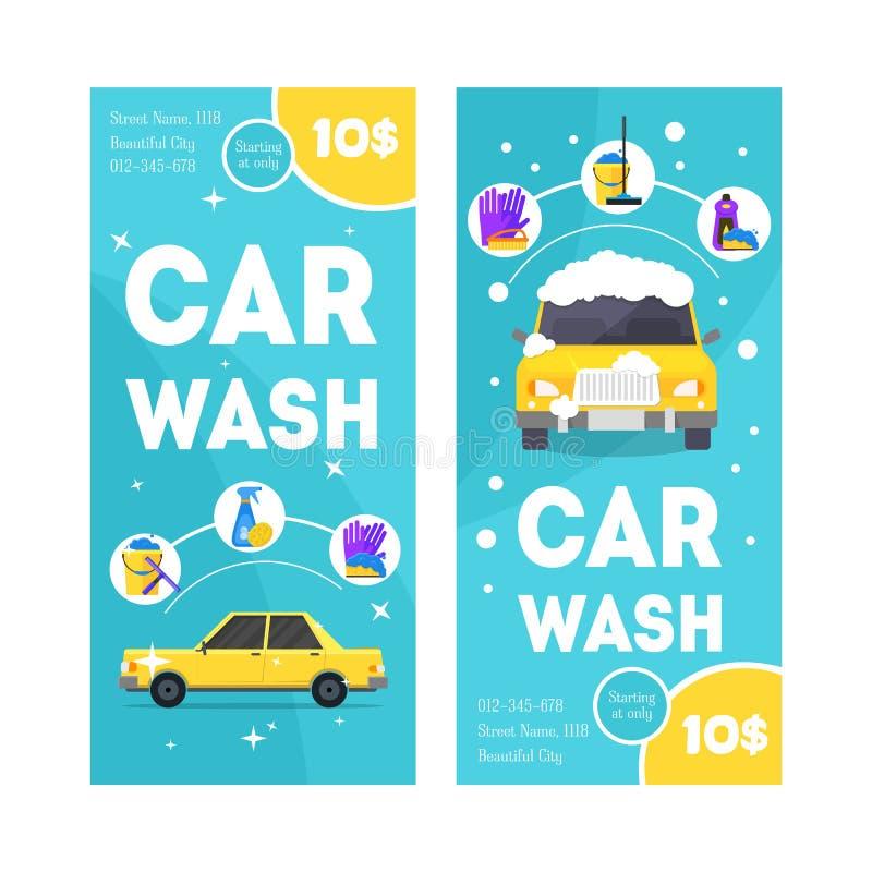 För banerkort för biltvätt tjänste- vertikal uppsättning vektor vektor illustrationer