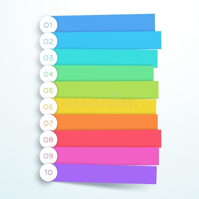 För banermoment för vektor färgrik Infographic lista 1 till 10 vektor illustrationer