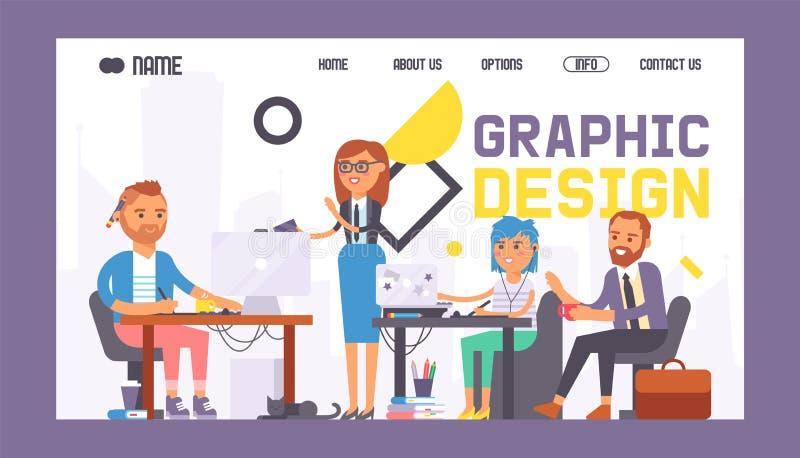 För banerrengöringsduk för grafisk design illustration för vektor för design Grupp med studentmålare Folk som lär att dra i dator royaltyfri illustrationer