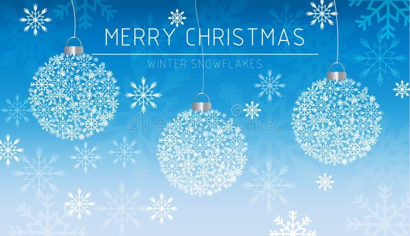 För banersnöflingor för glad jul kort för garneringar i vinterfrostvektor Magiska blåa härliga feriekort snowing stock illustrationer