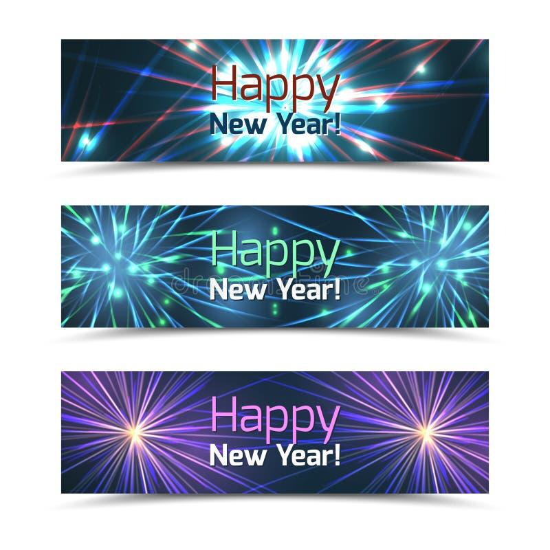 För banervektor för lyckligt nytt år uppsättning med fyrverkerier royaltyfri illustrationer