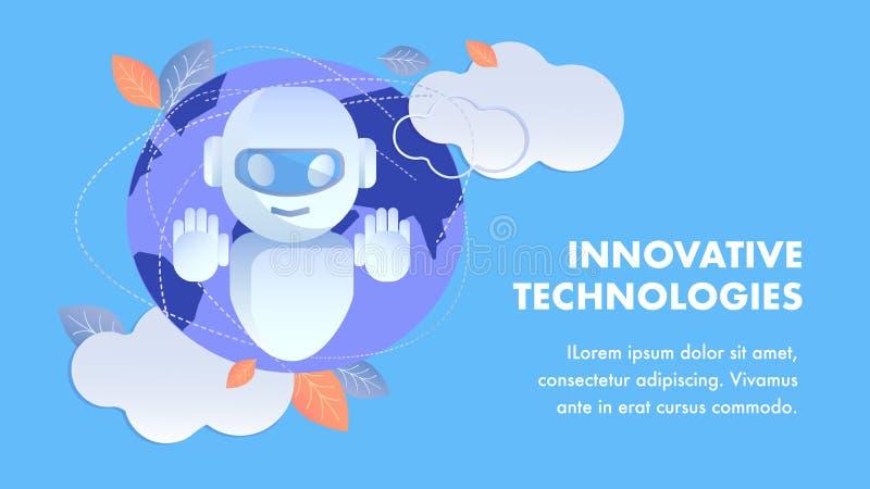 För banervektor för innovativa teknologier plan orientering royaltyfri illustrationer