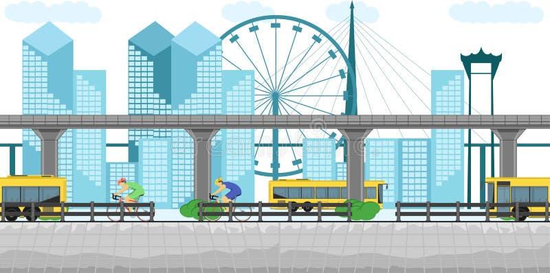 F?r bangkok f?r tunnelbana f?r g?ngtunnel f?r bil f?r stad f?r byggnad f?r Thailand trans.buss men skytraincykeli stadens centrum royaltyfri illustrationer