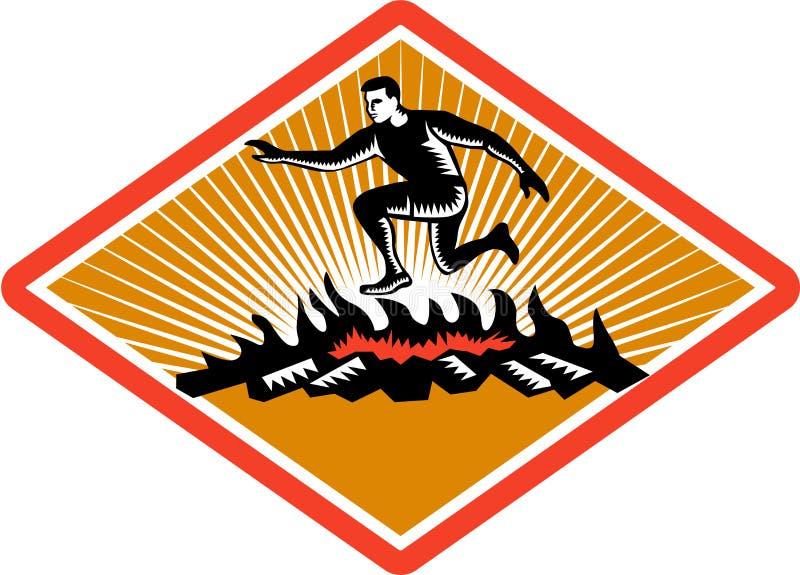 För banhoppningbrand för hinder tävlings- träsnitt stock illustrationer