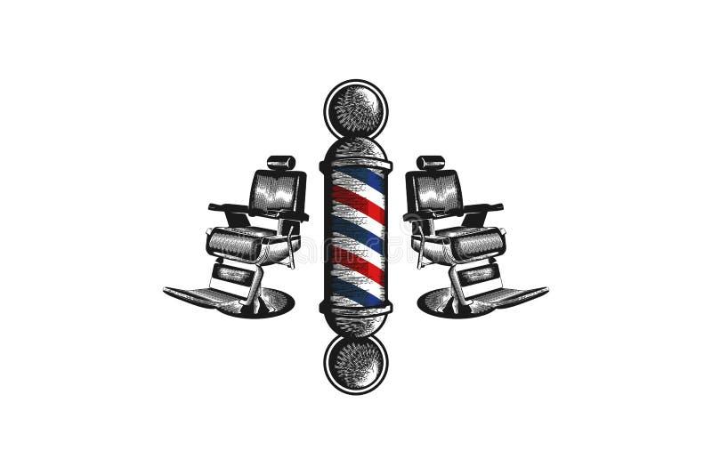 för för barberarepol och stol för hand som utdragen inspiration för designer för logo isoleras på vit bakgrund vektor illustrationer