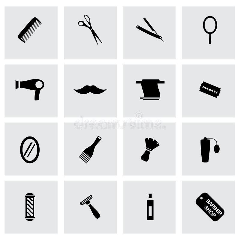 För barberaresymboler för vektor svart uppsättning royaltyfri illustrationer