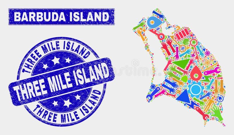 För Barbuda för collage industriell översikt ö och skrapad stämpel för tre Mile Island stock illustrationer