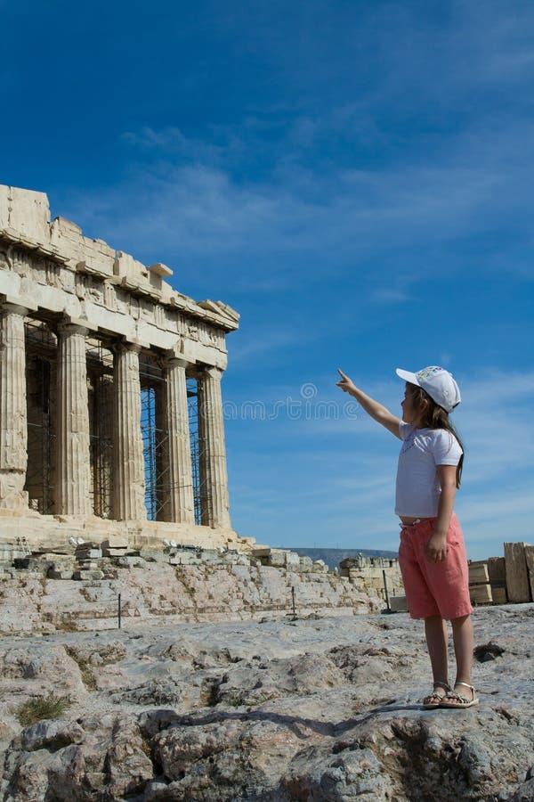 för barnfacade för acrop forntida punkter för parthenon till royaltyfri foto