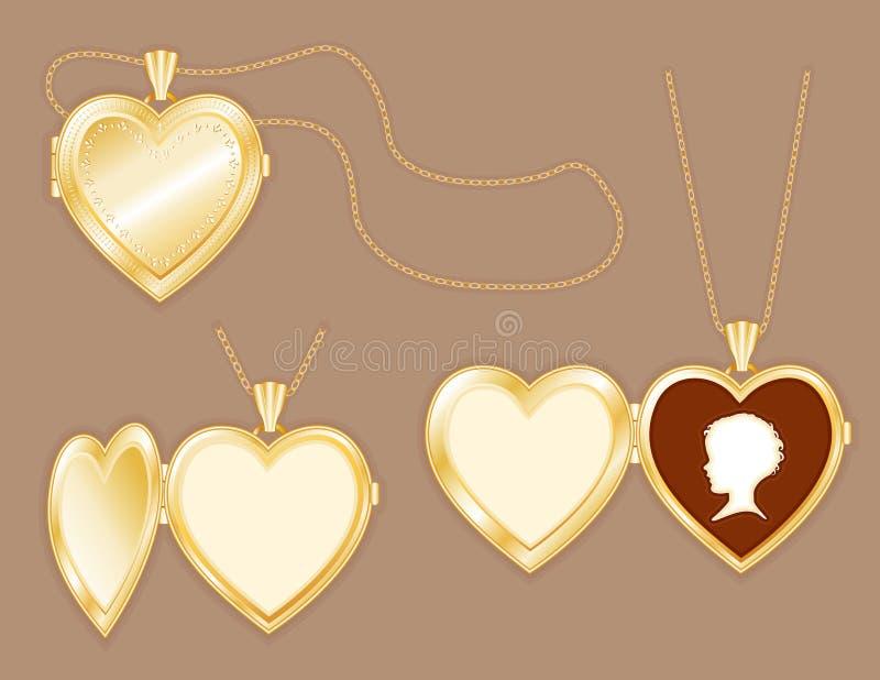 för barnguld för cameo chain locket s för hjärta stock illustrationer