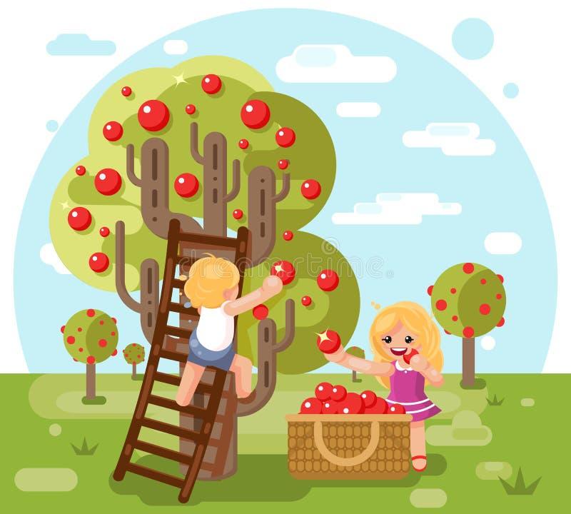 För barnpojke för höst kantjusterar lyckliga äpplen för skörd för flicka framlänges designvektorillustrationen royaltyfri illustrationer
