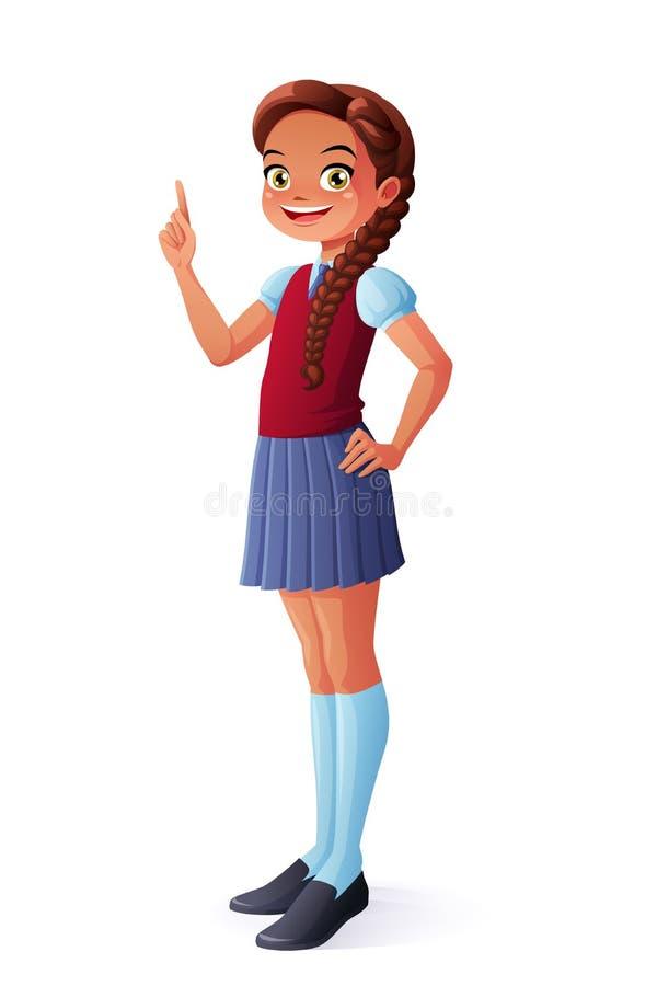 För barnskola för vektor som gulligt le finger för flicka för student pekar upp vektor illustrationer
