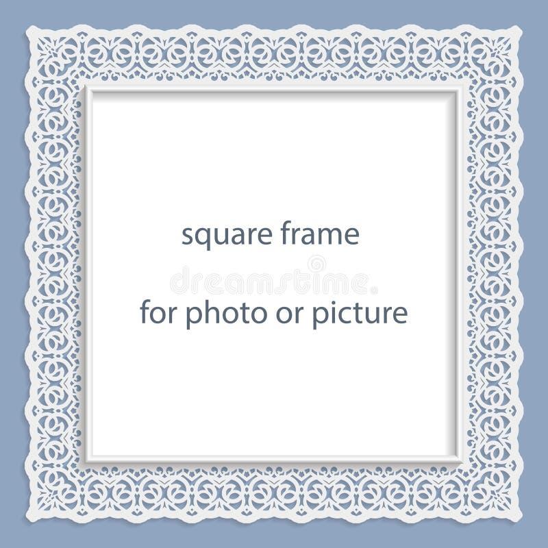 för basrelieffyrkant för vektor 3D ram för foto eller bild royaltyfri illustrationer