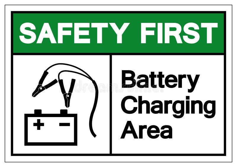 För batteriuppladdning för säkerhet första tecken för symbol för område, vektorillustration, isolat på den vita bakgrunds vektor illustrationer