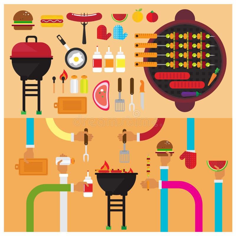 För BBQ-hamburgaren för vektorn sås för korven för fastställt klipp grillade salt frukt plant royaltyfri illustrationer